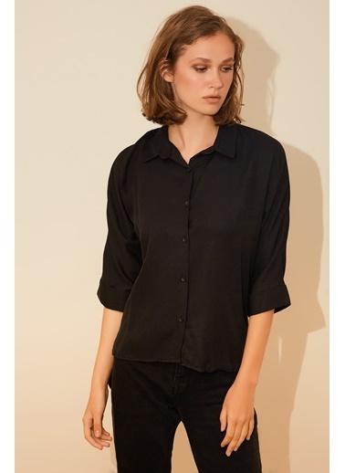 Reyon Fakir Kol Kadın Gömlek Siyah Siyah
